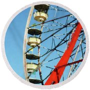 Ferris Wheel Closeup Round Beach Towel