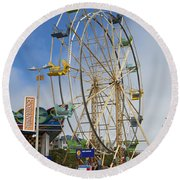 Ferris Wheel Santa Cruz Boardwalk Round Beach Towel