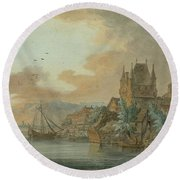 Ferry Across A River Round Beach Towel