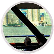 Ferry Across The Harbor Round Beach Towel