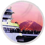 Ferry And Da Mountain Round Beach Towel