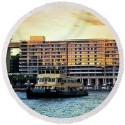 Ferry And The Toaster Round Beach Towel