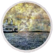 Ferry Boat Round Beach Towel
