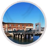 Ferry Building And Pinnacle Building - San Francisco Embarcadero Round Beach Towel