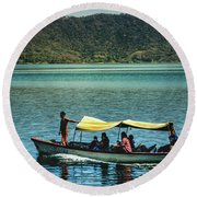 Ferry - Lago De Coatepeque - El Salvador I Round Beach Towel