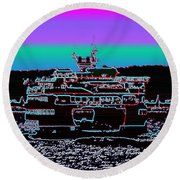 Ferry On Elliott Bay 4 Round Beach Towel