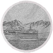 Ferry On Elliott Bay 5 Round Beach Towel
