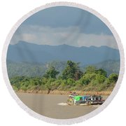 Ferry On The Chindwin 2 Round Beach Towel