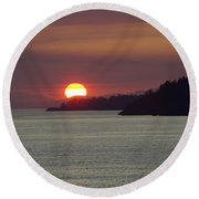 Ferry Sunset Round Beach Towel