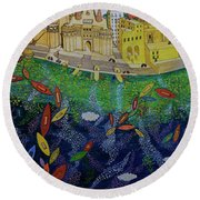 Ferry To The City Of Gold II Round Beach Towel