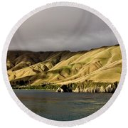 Ferry View Picton New Zealand Round Beach Towel