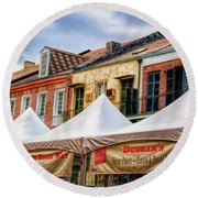 Festival New Orleans Seafood - French Quarter Round Beach Towel