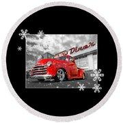 Festive Chevy Truck Round Beach Towel