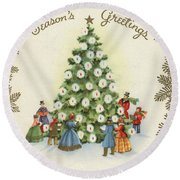 Festive Christmas Tree In A Town Square Round Beach Towel