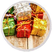 Festive Greeting Gifts Round Beach Towel
