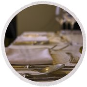 Festive Table Setting For A Formal Dinner  Round Beach Towel