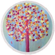 Festive Tree Round Beach Towel