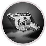 Fiat Abarth Emblem -ck1611bw2 Round Beach Towel