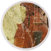 Fiddle In Grunge Style Round Beach Towel