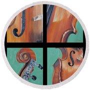 Fiddle Quartet Round Beach Towel