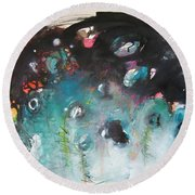 Fiddleheads- Original Abstract Colorful Landscape Painting For Sale Red Blue Green Round Beach Towel