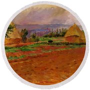 Field And Haystacks 1885 Round Beach Towel