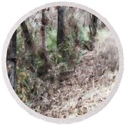 Field Meets Forest Round Beach Towel