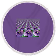 Field Of African Violets Round Beach Towel