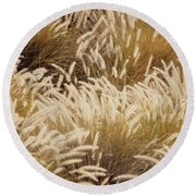 Field Of Feathers Round Beach Towel