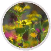 Field Of Flowers Paint Round Beach Towel