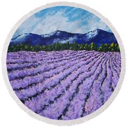 Field Of Lavender Round Beach Towel