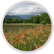 Field Of Orange Daylilies Round Beach Towel