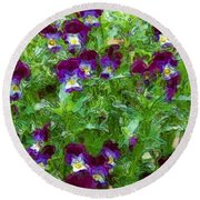 Field Of Pansy's Round Beach Towel