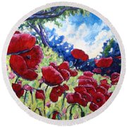 Field Of Poppies 02 Round Beach Towel