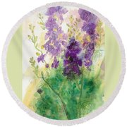 Field Of Purple Round Beach Towel