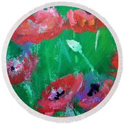 Field Of Red 2 Round Beach Towel