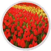 Field Of Tulips Round Beach Towel