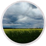 Field Of Weeds Round Beach Towel