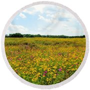 Field Of Wildflowers Round Beach Towel