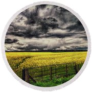 Field Of Yellow Flowers Round Beach Towel
