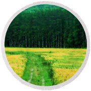 Field Of Yellow Round Beach Towel