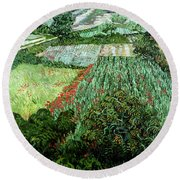 Field With Poppies Round Beach Towel