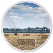 Field With Straw Bale And Center Pivot Sprinkler System Agricult Round Beach Towel
