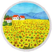 Field With Sunflowers Round Beach Towel