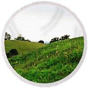 Fields In Glastonbury Round Beach Towel