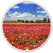 Fields Of Flowers At Nir Banim Round Beach Towel