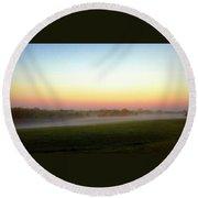 Fields Of Fog Round Beach Towel