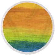 Fields Of Gold 1 - Abstract Summer Landscape Painting Round Beach Towel