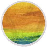 Fields Of Gold 2 - Abstract Summer Landscape Painting Round Beach Towel