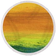Fields Of Gold 3 - Abstract Summer Landscape Painting Round Beach Towel